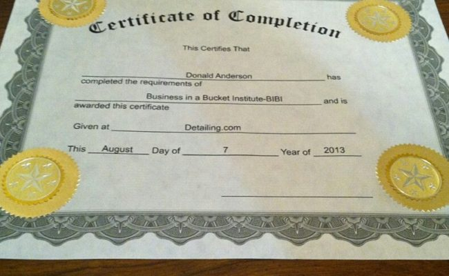 Business in a Bucket Certificate of Completion