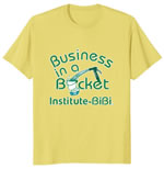 Business in a Bucket T-Shirt. Color: Lemon with green print